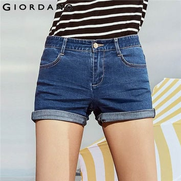 Giordano Women Shorts Whisker Slim Denim Shorts Ragged Hem Jeans Woman Quality Cotton Stretchy Ragged Cutoffs