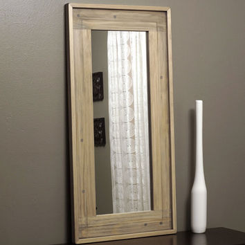 Rustic Wood Framed Mirror Distressed Farmhouse Barn Mantle Weathered Natural