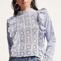 Stripe Mock Neck Eyelet Top