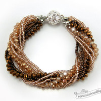 Brown Multi strand Crystal bracelet brown beaded jewelry multi strand bracelet brown crystal bracelet sparkly evening bracelet gift for her