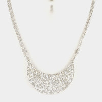 Wrinkle Textured Bib Necklace - Silver