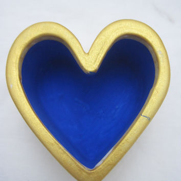 Silver or Gold Heart Shaped Trinket Box