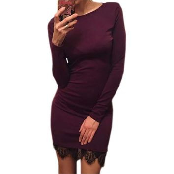 Casual Dress Women Cotton Fit Office Ladies Elegant Lace solid Bodycon Dress Evening Party Long Sleeve Winter Dress Sexy LX067