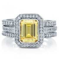 Emerald Cut Canary Cubic Zirconia CZ 925 Sterling Silver Halo Bridal Ring Set 1.74 Carat #vr030