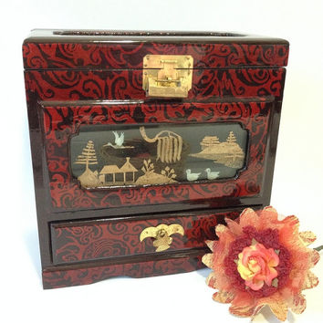 Vintage Chinese Crane and Pagoda Landscape Tall Tower Jewelry Box