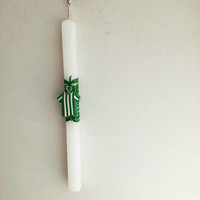 Football Easter candle, Panathinaikos candle, boys Greek Easter candle with Panathinaikos colors football jersey, λαμπάδα ΠαναθηναΪκός