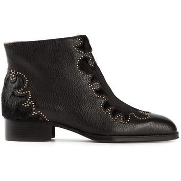 See By Chloé Studded calf hair and leather ankle boots