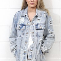 Blue Jean Baby Distressed Denim Jacket {L. Wash}