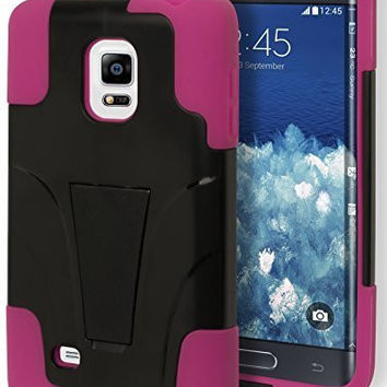 Samsung Galaxy Note Edge Hybrid  Pink Cover  Black Kickstand Case