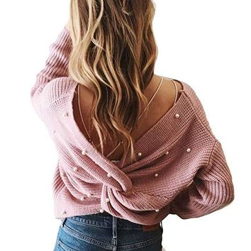 Women Pearl Beading V Neck Twist Sweater