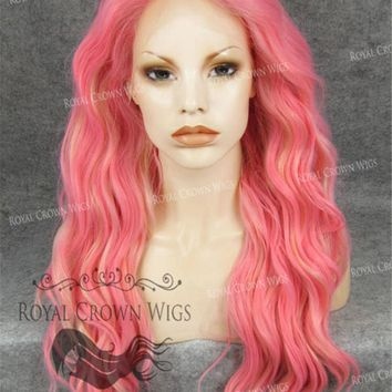 24 inch Synthetic Lace Front with Wave Texture in Pink with Blonde Highlights