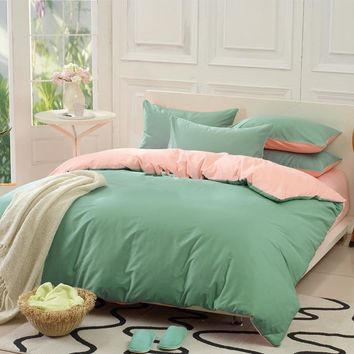 Solid Green and Light Pink Color Blocking Cotton Luxury 4-Piece Bedding Sets/Duvet Cover