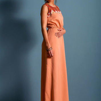 Long aztec dress, salmon long dress, open back long dress