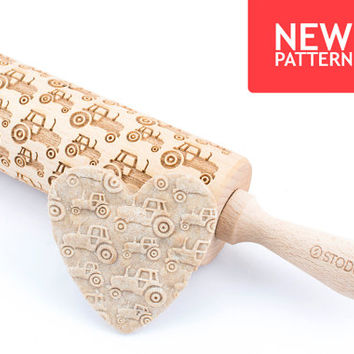 Tractor - Embossed, engraved rolling pin for cookies