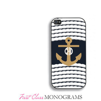 Nautical Anchor Monogram Phone Case, for iPhone 4,4s,5,5s,5c,6,6 plus; Galaxy S3,S4,S5, iPod 4,5. Navy Blue  FCM-176