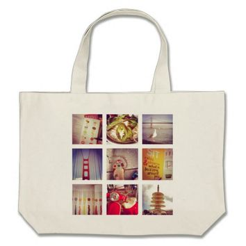 Custom Instagram Photo Collage Jumbo Tote Bag