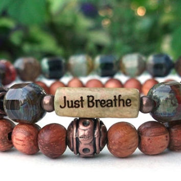 Breathe Bracelet, Just Breathe Inspiration Bracelet, Yoga Bracelet, Yoga Jewelry,  Motivational Gift, Intention Bracelet, Czech Glass