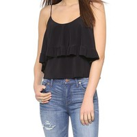 Tbags Los Angeles V Neck Ruffle Top
