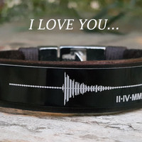 Mens Leather Bracelet Sound Wave Bracelet Personalized Leather Men's Soundwave Jewelry Your Own Voice Record Roman Numeral Anniversary Gift