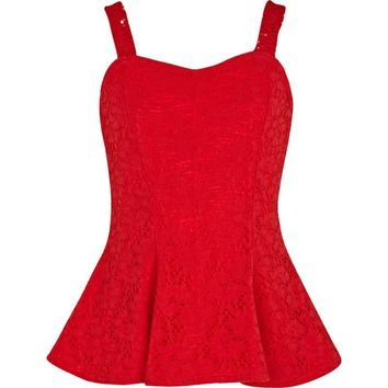 Girls red lace peplum top - tops - t-shirts / tanks / tops - girls