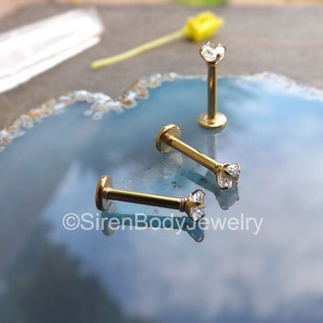 Gold tragus earring 16g labret stud clear prong diamond 3mm flat back earrings conch piercing jewelry prong set internally threaded single