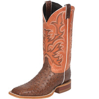 Justin Antique Brown Vintage Full Quill Ostrich-13 Parched Clay Cowhide Top Cowboy Boots