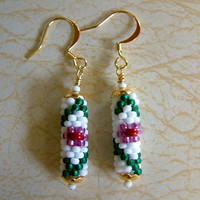 Bead Crochet Earrings Flower and Vine in White Emerald by lanmom