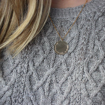 gold coin necklace, she believed she could so she did,  graduation gift, layering necklace, gold disc necklace, minimalist necklace, layered