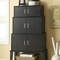 Espresso finish wood stacked cabinet set with 3 sets of doors and open storage on the bottom