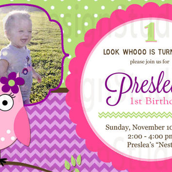 Owl Chevron Birthday Invitation - Printable