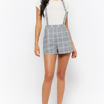 Glen Plaid High-Rise Suspender Shorts