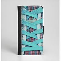 The Turquoise Laced Shoe Ink-Fuzed Leather Folding Wallet Case for the iPhone 6/6s, 6/6s Plus, 5/5s and 5c