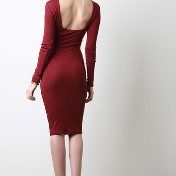 Mock Neck Window Back Midi Dress