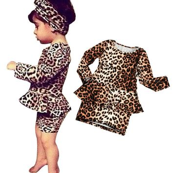 New Newborn Kids Girls Leopard Print Long Sleeve Princess Dress Clothes Outfits