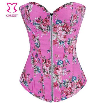 Pink Floral Pattern Denim Zipper Corset Top Burlesque Cowgirl Sexy Corsets And Bustiers Gothic Corpete E Corseletes Espartilhos