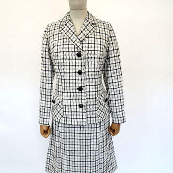 VINTAGE 1960s 1970s CHECK WOOL SKIRT SUIT 12