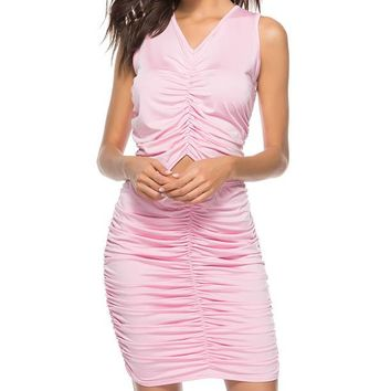 Hollow Out Draped Stretch Bodycon Dress