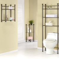 Bronze Metal Bathroom Space Saver With Tempered Glass