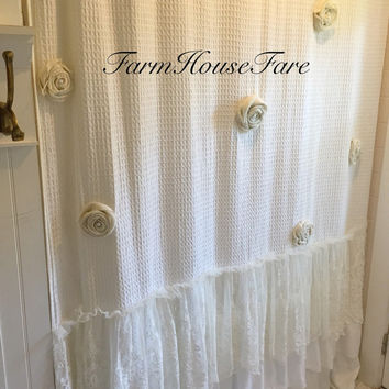 Lace Ombre Shower Curtain In Black