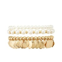 White Pearl & Leaf Stretch Bracelets - 3 Pack by Charlotte Russe