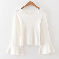 White Scallop Trim Bell Sleeve Sweater