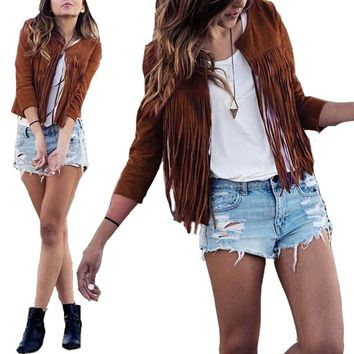 2016 Autumn Women Outerwear Coat Casual Cardigan Fashion Tassel Fringed Suede Long Sleeve Slim Jacket  S-XL