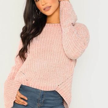 Red Chenille Knit Flared Sleeve Pullover Sweater