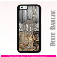 iPhone 6 Case Lace Monogram iPhone 5s Phone Case iPhone 5 Rubber Case iPhone 5c Case - DD Monogram Camo Barn Wood & Lace Cream (M102-10)
