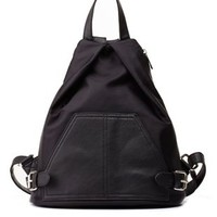 Black Belted Architectural Backpack by Charlotte Russe