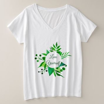 Love Yourself Plus Size V-Neck T-Shirt