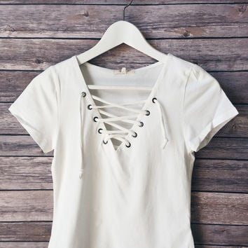 Walker Lace Up Tee (White)