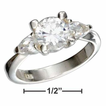 Sterling Silver 3 Stone Pear and Round Cubic Zirconia Engagement Ring