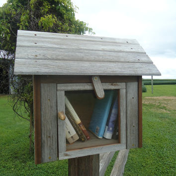 Outdoor library - Book share library - Neighborhood outdoor library - Wood library - Salvage redwood - Barn board - Weathered wood - Library