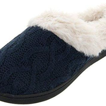 ISOTONER Womens Navy Cable Knit Bridget Clog Slippers